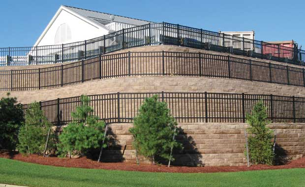 Retaining Wall With Fence Above